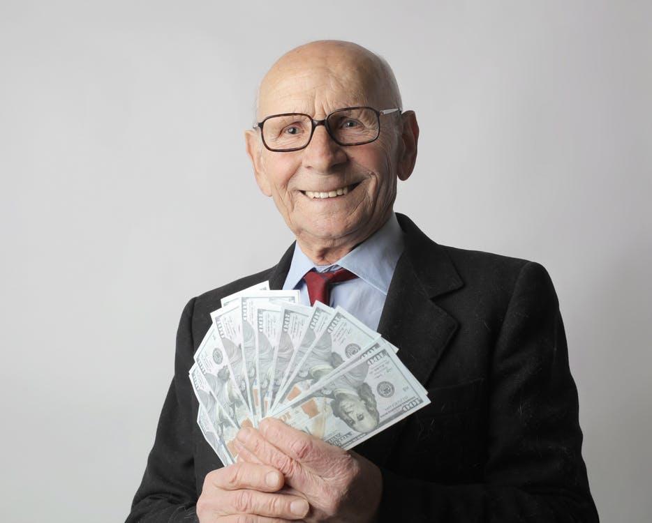 rich man happy with money